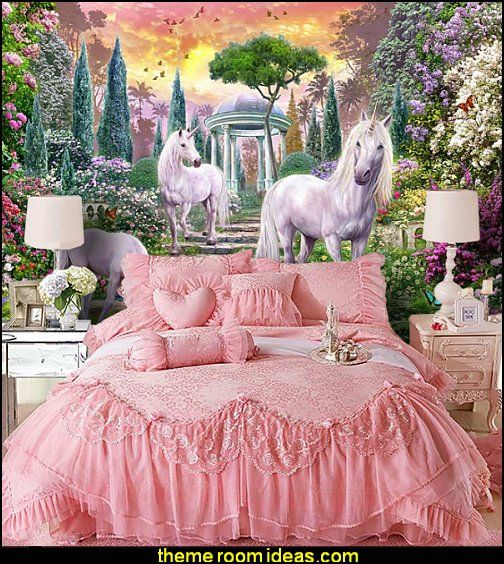 Unicorn Wall Murals Princess Pink Lace Bedding Girls