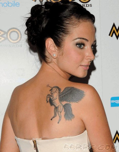 Unicorn With Wings Tattoo On Celebrity Tulisa Right Back Shoulder