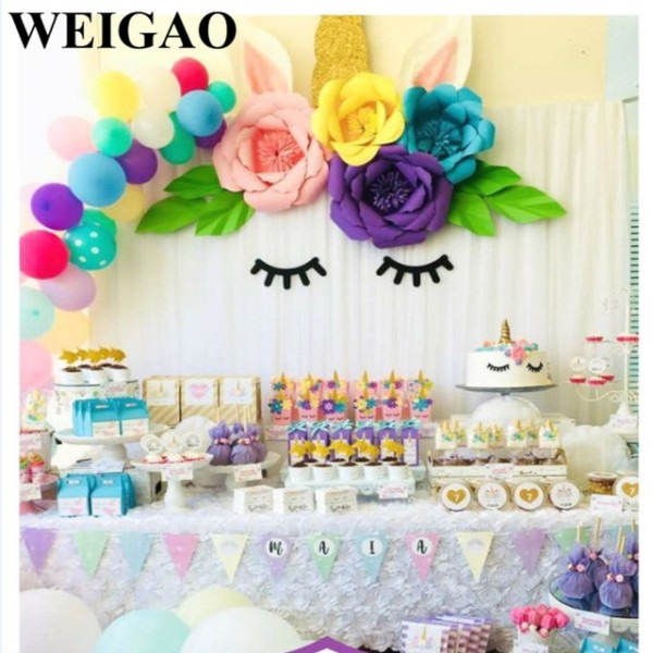 Weigao Diy 30cm Paper Flowers With Disposable Tableware For