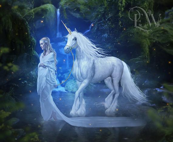 White Unicorn Art Fantasy Elf Print Fantasy Forest Art Blue