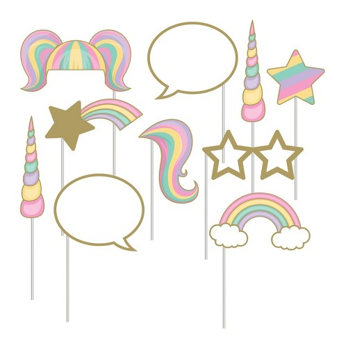 10ct Creative Converting Sparkle Unicorn Photo Booth Props   Target