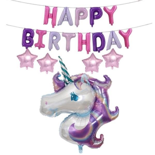 10inch Suit Combination Latex Helium Birthday Letter Star Unicorn