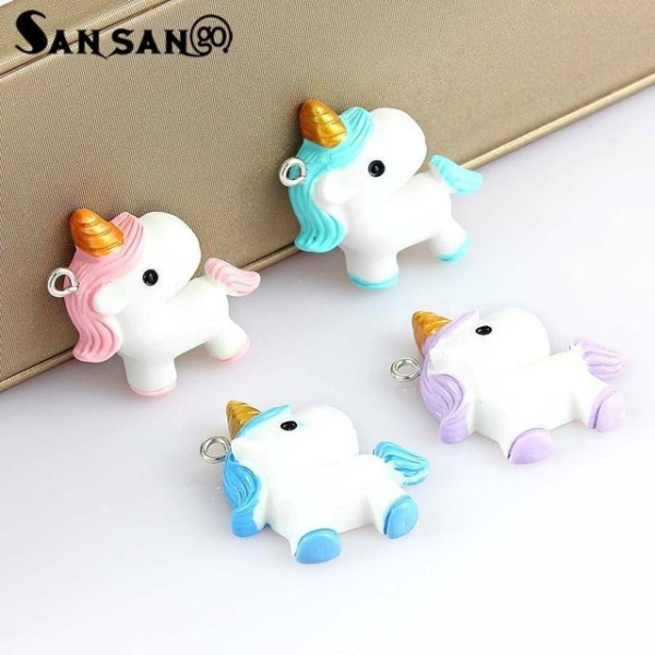 10pcs Mix Colorful Cartoon Cute Unicorn Charms For Women Girls Diy