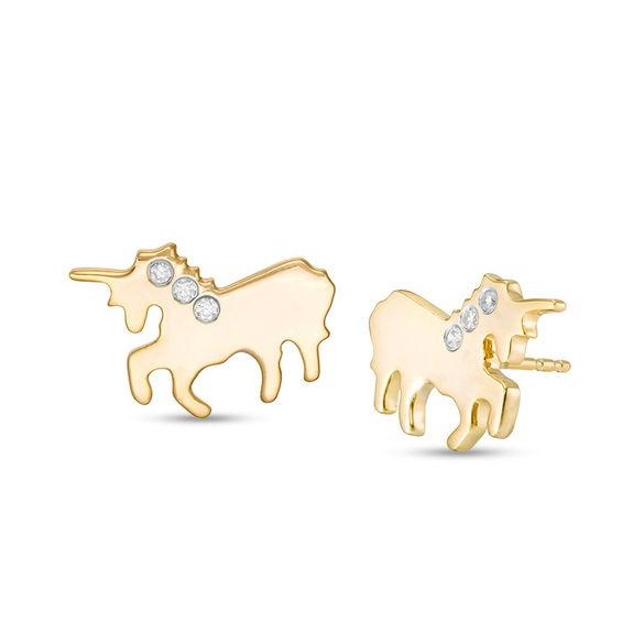 1 20 Ct  T W  Diamond Three Stone Unicorn Stud Earrings In