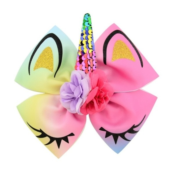 1piece Lovely Ear Bow Boutique Ribbon Hair Bow With Unicorn Horn