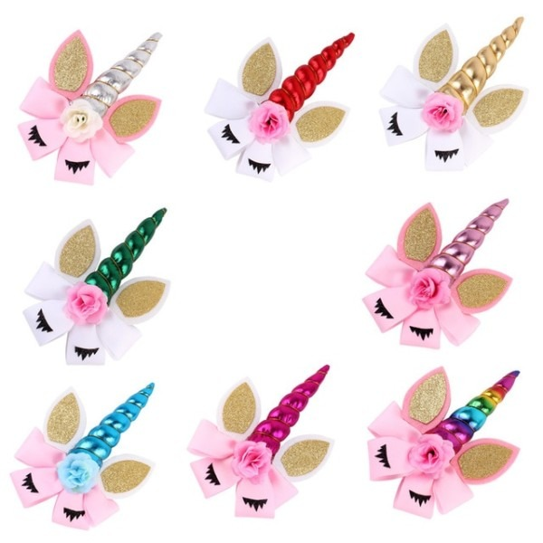 2018 1pc Unicorn Halloween Hair Clip For Girls And Kids Diy Felt