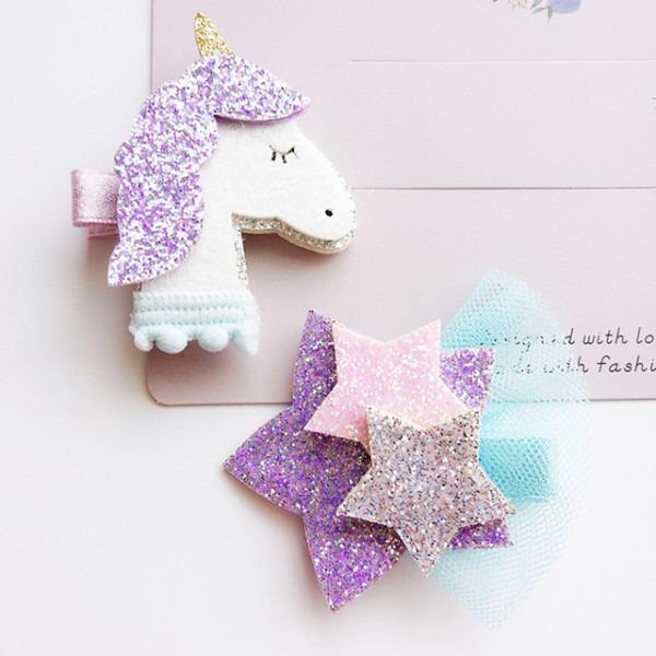 20 Pcs Lot, Glitter Unicorn Hair Clips , Felt Glitter Star And