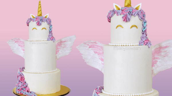 3 Tier Buttercream Unicorn Cake With Edible Wings