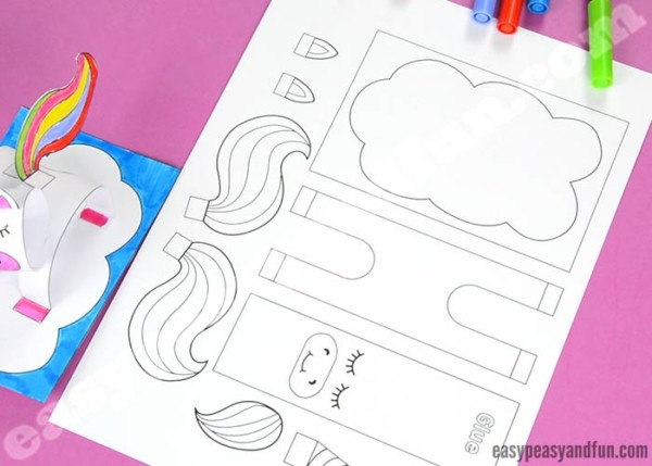3d Construction Paper Unicorn Craft Printable Template