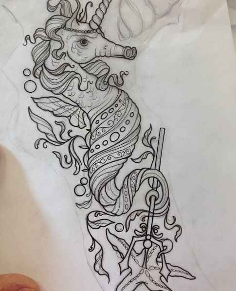 A Keen Way To Combine A Unicorn And A Mermaid Tattoo