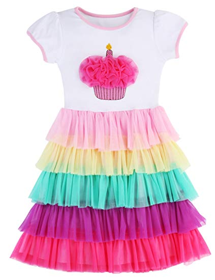 Amazon Com  Girl's Party Birthday Princess Unicorn Rainbow Dress