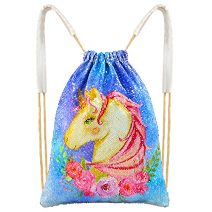 Amazon Com  Icosy Unicorn Mermaid Bag Sequin Drawstring Backpack