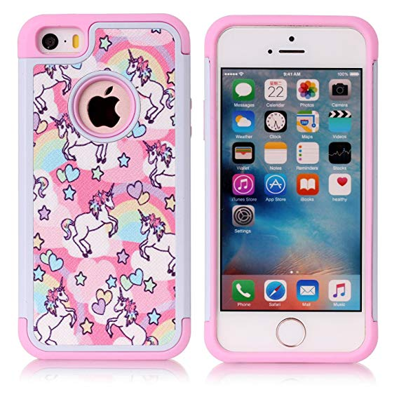 Amazon Com  Iphone 5s Case, Iphone Se Case, Rainbow Unicorn