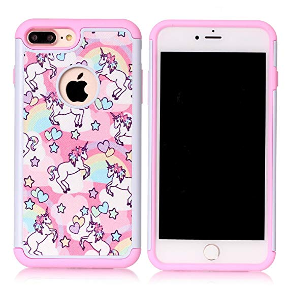 Amazon Com  Iphone 7 Plus Case, Rainbow Unicorn Patchwork Pattern