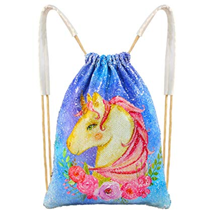 Amazon Com  Mhjy Unicorn Sequin Bag, Reversible Sequin Drawstring
