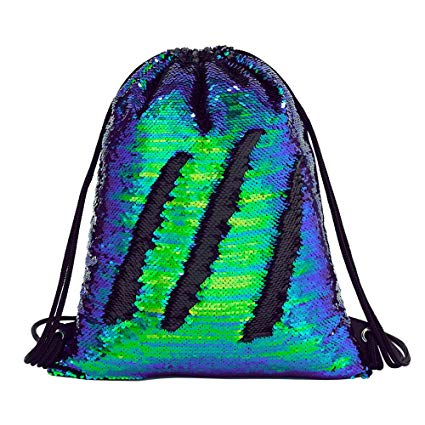 Amazon Com  Sequin Drawstring Backpack Gym Dance Bags Mermaid