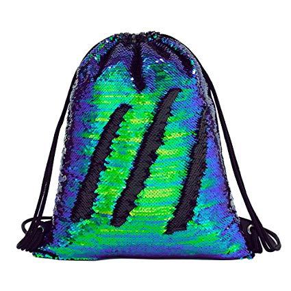 Amazon Com  Sequin Drawstring Backpack Gym Dance Bags Mermaid