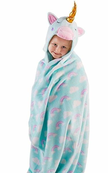 Amazon Com  Snuggle Up Girls Unicorn Hooded Supersoft Fleece