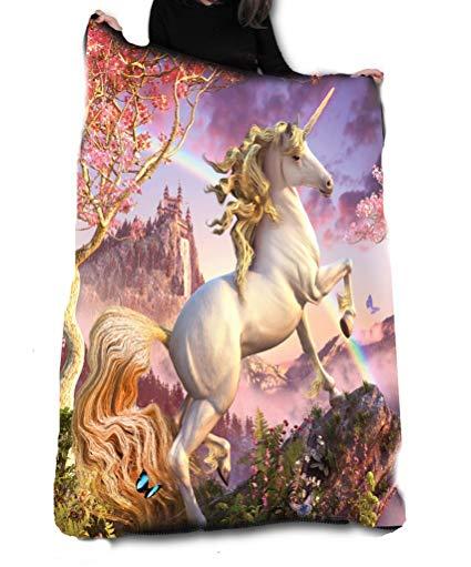 Awesome Unicorn Fleece Blanket   Throw 147cm X 147cm  Amazon Co Uk