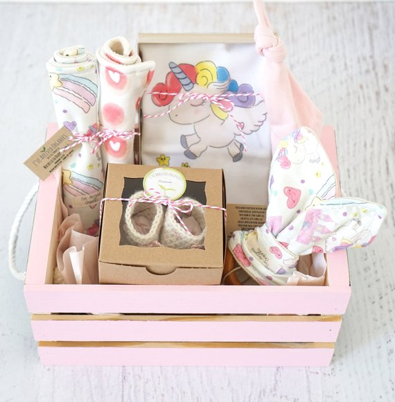 Baby Girl Gift Basket, Unicorn Baby Clothes, Personalized Baby's