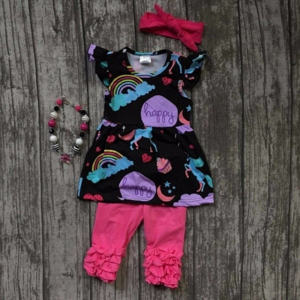 Baby Girls Capris Sets Boutique Outfit Hot Pink Purple Unicorn