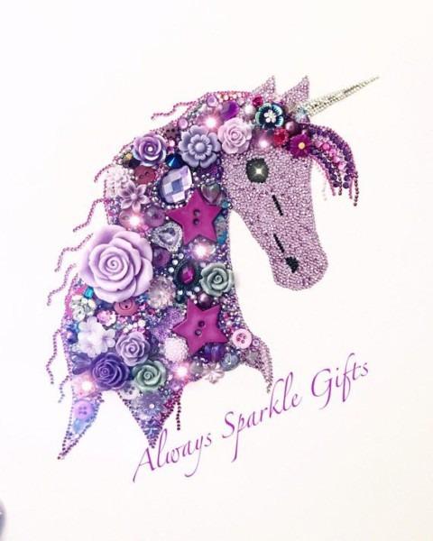 Beautiful Super Sparkly Purple And Lilac Coloured Unicorn Button