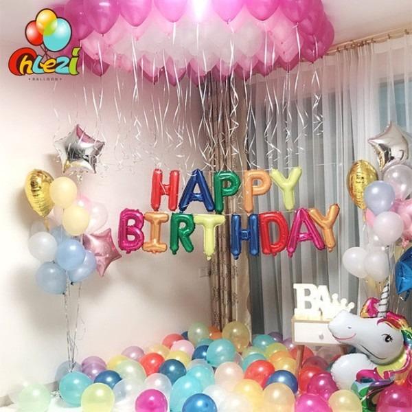 Birthday Suit Balloons Rainbow Unicorn Theme Happy Birthday Letter