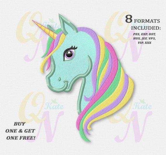 Bogo Free! Rainbow Unicorn Applique Embroidery Design, Rainbow