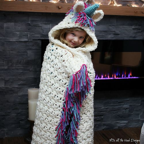 Bulky & Quick Unicorn Blanket  Cowl Pattern By Mj's Off The Hook