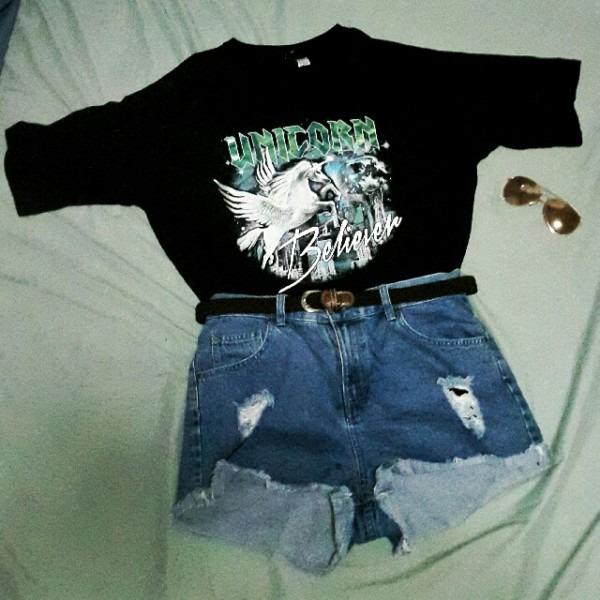 Carousell의 H&m Unicorn Believer Oversized Shirt, Women's Fashion