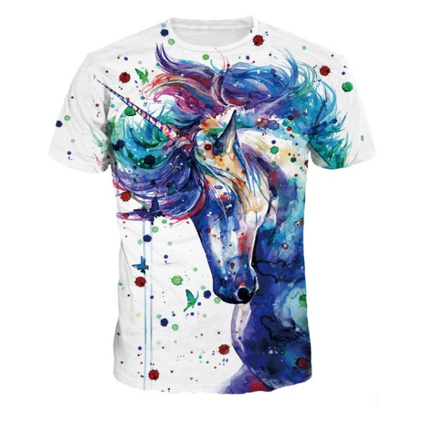 Children Unicorn Tshirt Lovely Anime Rainbow Blue Horse Funny T