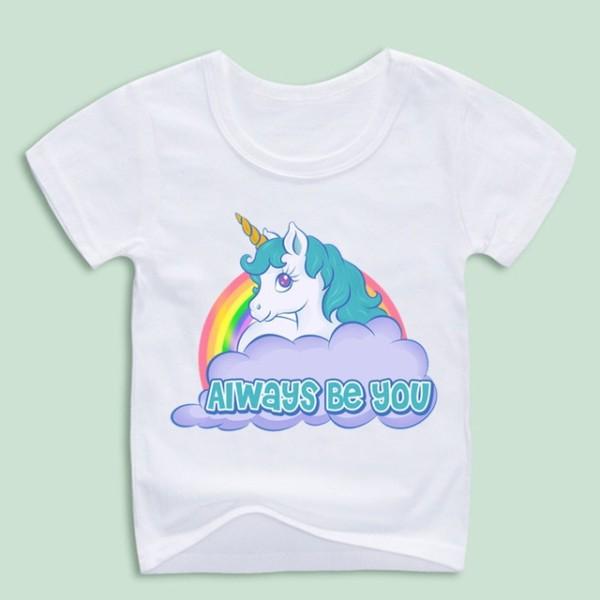 Children's Unicorn Print T Shirts Kids Fantasy Tops Tee Boy And