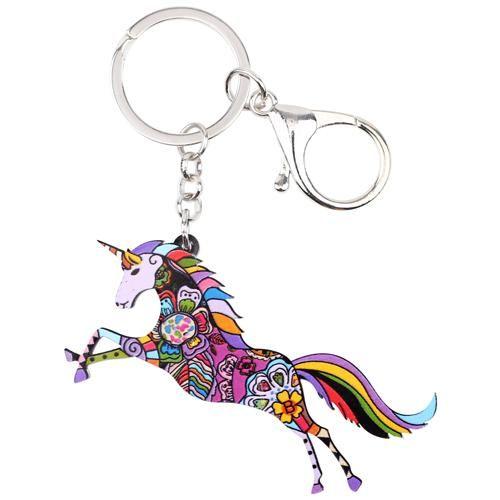 Colorful Acrylic Unicorn Key Chain