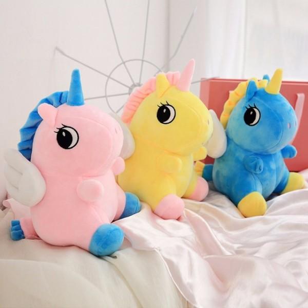 Cute Plush Unicorn Toy Pink Yellow Blue Fly Horse Soft Doll