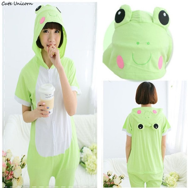 Cute Unicorn Green Frog Short Sleeve Animal Pajamas Summer Unisex
