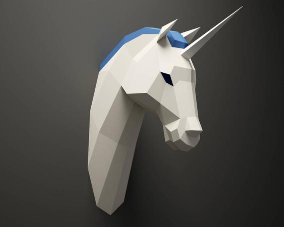 Diy Unicorn Head Licorne Paper Animal Trophy 3d Paper Model