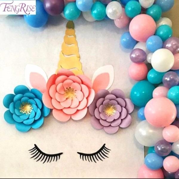 Fengrise Artificial Paper Flower Unicorn Party Decorations