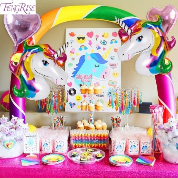 Fengrise Rainbow Unicorn Party Decoration Aluminum Star Foil