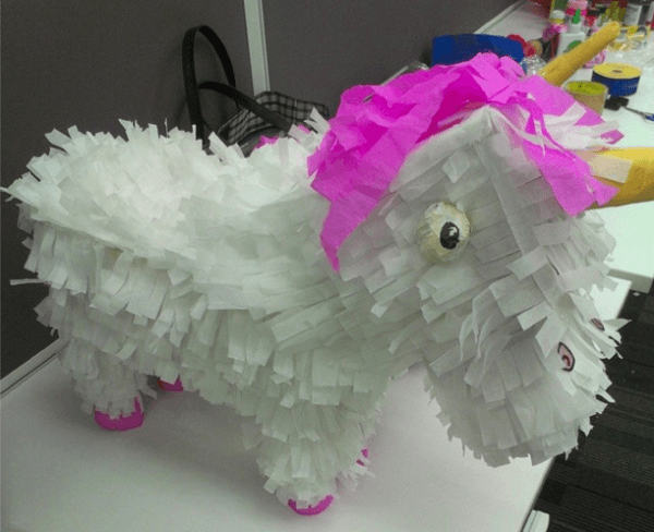 Fluffy Unicorn Piñata For Our Despicable Me Trick Or Treat
