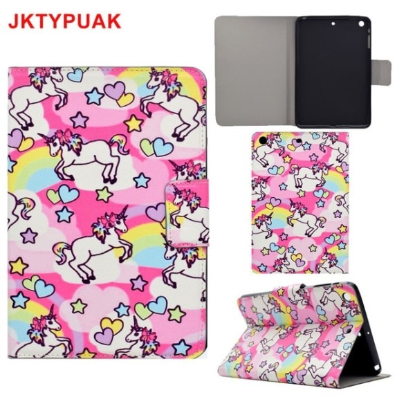 For Ipad Mini 4 Pu Leather Case Kickstand Cute Animal Unicorn