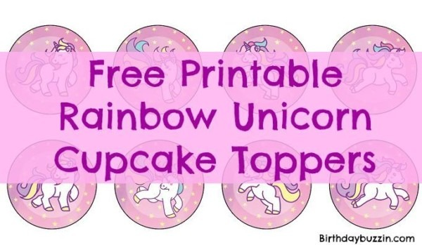 Free Printable Rainbow Unicorn Cupcake Toppers