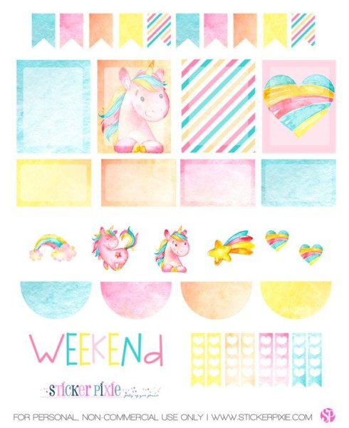 Free Printable Unicorn Planner Stickers From Sticker Pixie