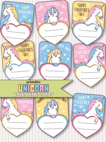 Free Printable Unicorn Valentine's Day Cards