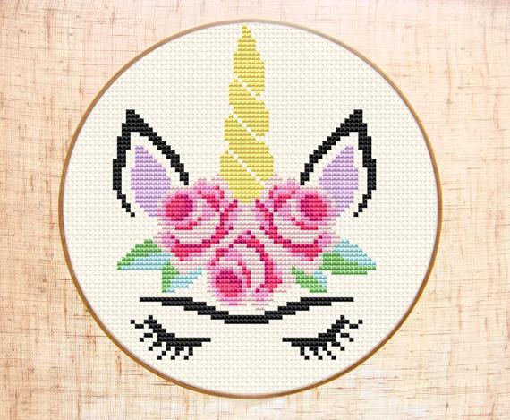 Frida Cross Stitch Pattern Modern Cross Stitch Unicorn Cross