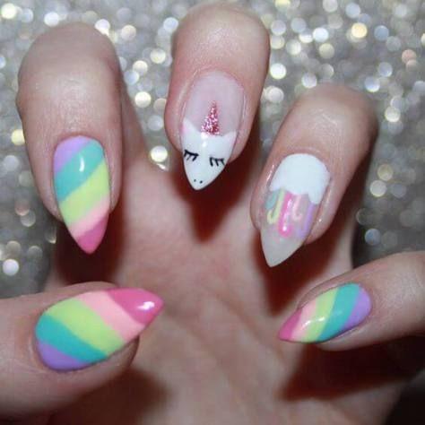 unicorn gel nails