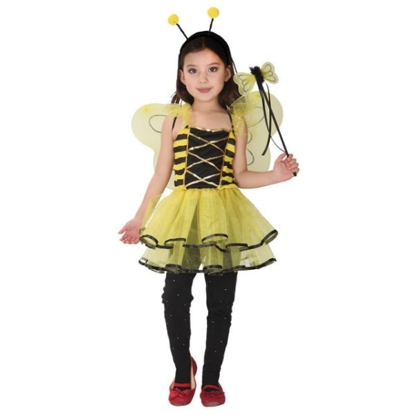 Girls Honey Bee Dress Child Insect Cosplay With Wings Fancy Kids