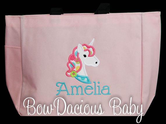 Girl's Tote Bag, Unicorn Bag, Dance Bag, Swimming Bag, Custom