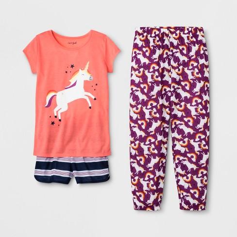 Girls' Unicorn Print 3pc Pajama Set