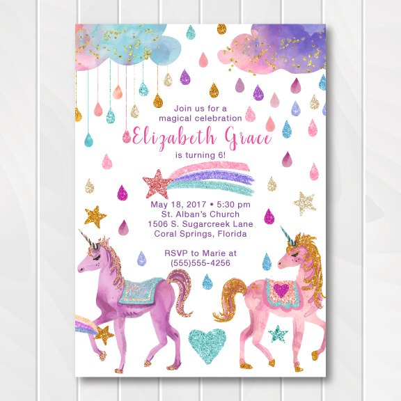 Glitter Unicorn Birthday Invitation – First Comes Love Then Comes