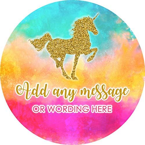 Glitter Unicorn Gold Sticker Labels Personalised Seals Ideal For